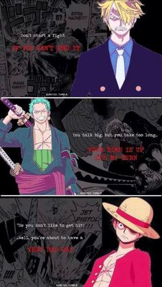 Sanji,Zoro< Luffy~ One Piece
