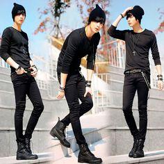 Spring mens korean designer black skinny jeans punk cool ligh wash super skinny chain pants for male Emo Fashion, Korean Fashion, Fashion 2020, Fashion Vest, Fashion Hair, Fashion Tips, Male Pose Reference, Drawing Reference, Estilo Tomboy