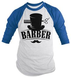 Barber 3/4 Sleeve T-shirt Top Hat Vintage Hipster by ShirtsBySarah