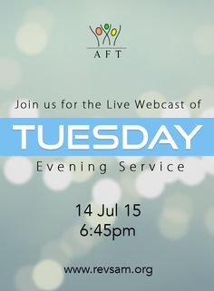 Tuesday Evening Service LIVE Webcast starts at 6.45 PM today. Don't miss this! (Bilingual service in English, with Tamil translation) http://www.revsam.org/?q=live_service ‪#‎revsam‬ ‪#‎service‬