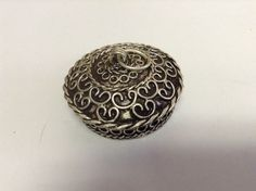 Moroccan Tribal Silver Alloy Round Lidded Pendant Pill Secret Compartment Box  #BerberBrand