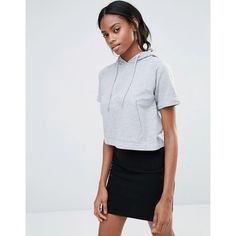Missguided Pocket Front Short Sleeve Hoodie ($26) ❤ liked on Polyvore featuring tops, hoodies, grey, hooded pullover, cropped hooded sweatshirt, grey hoodie, sweatshirt hoodies and gray crop top