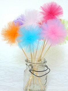 Tulle Pom Party Wands. Im going to have some as decor and some for the girls in their party bags;)