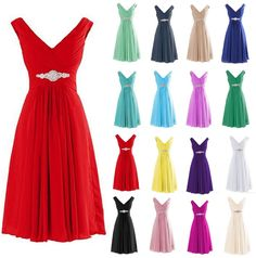 Short V-Neck Bridesmaid Dresses Evening Prom Ball Gown Homecoming Party  Dresses