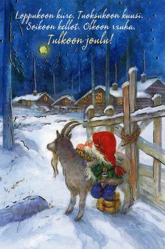 Joulupukki carries a puukko, ,,, Finland Christmas Gnome, Christmas Scenes, Scandinavian Christmas, Vintage Christmas, Christmas Cards, Vintage Greeting Cards, Vintage Postcards, Yule Goat, Scandinavian Art