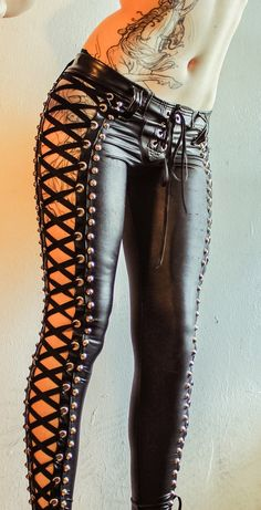 "abandonedvillage: "" TOXIC VISION BLACK WIDOW STUDDED LACE UP PANTS "" http://www.facebook.com/toxicvisionclothing"