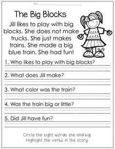 READING PASSAGE with comprehension questions - snowman - kindergarten and first grade literacy skills First Grade Reading Comprehension, Phonics Reading, Reading Comprehension Worksheets, Reading Passages, Kindergarten Reading, Reading Strategies, Reading Skills, Teaching Reading, Reading Activities