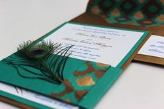 Wedding Invitations Peacock Antique Gold Turquoise Chocolate. $7.75, via Etsy.