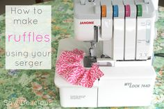 Sew Delicious: How to Make Ruffles using your Serger - Tutorial. I will need this if I ever get a serger. Sewing Hacks, Sewing Tutorials, Sewing Crafts, Sewing Patterns, Sewing Tips, Sewing Ideas, Sewing Box, Sewing Notions, Diy Crafts