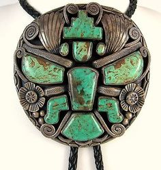 Massive Navajo Jimmy Victor Begay Sterling Silver Turquoise Knifewing Bolo Tie J | eBay