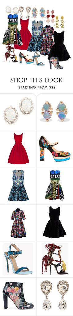 """""""Dresses Galore"""" by chloewild ❤ liked on Polyvore featuring Kenneth Jay Lane, WWAKE, Valentino, Holly Fulton, Versace, Oscar de la Renta, Alaïa, Dsquared2, Camilla Elphick and Yves Saint Laurent"""
