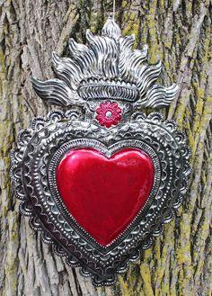 Large Tin Milagro Heart, Sacred Heart Flames, Love Token Mexican Folk Art Oaxaca