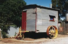 Itinerant worker's traveling living van or cabin (also know as a 'drover's van'), built in the 1940s by Mr Frank Rockliff, near Berrigan, New South Wales.
