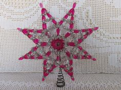 Retro Tinsel Tree Topper | tree topper, Pink beaded star topper with silver tinsel bling, Vintage ...