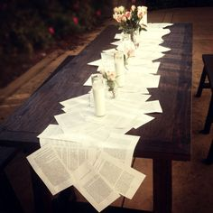 Table SettingDecor...cute but I'd want actual book pages tea stained.