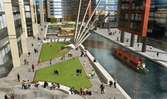 The park will have plenty of communal seating as well as a series of decked platforms and walkways where people can walk over water.