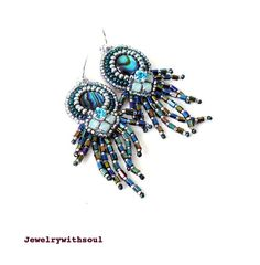 Bead embroidery paua abalone cabochon fringe earrings with Swarovski crystals in rainbow peacock green blue, teal and silver - Medusa