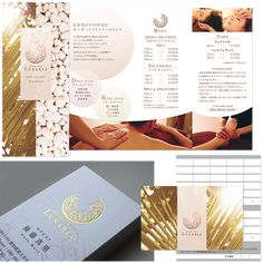 サロン ロゴ チラシ 広告デザイン Spa Brochure, Massage Logo, Catalogue Layout, Spa Logo, Leaflet Design, Catalog Design, Spa Services, Book Layout, Logo Images