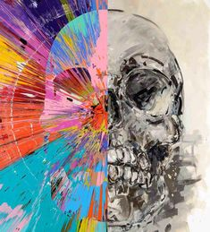 Check out this beautiful skull painting by acclaimed artist Damien Hirst. This piece has a combination of his well known techniques.