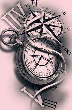 Pocket Watch Tattoo Design, Pocket Watch Tattoos, Clock Tattoo Design, Compass Tattoo Design, Sketch Tattoo Design, Tattoo Sketches, Compass Tattoo Drawing, Time Clock Tattoo, Clock Tattoo Sleeve