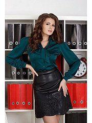 темно-зеленый, зеленый Real Leather Skirt, Leather Skirts, Bow Blouse, Satin Blouses, Office Looks, Green Satin, Hot Pants, Silk Satin, Sexy Women