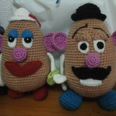 Mr and Mrs potato head!!! but the eyes and stuff need to be stuck on with velcro so they can come off