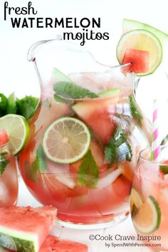 Fresh watermelon, lime, mint and soda make up the watermelon mojito, a perfect summer drink! Skip the rum to make a non-alcoholic mocktail! Batch Cocktail Recipe, Mojito Recipe, Refreshing Summer Cocktails, Easy Cocktails, Cocktails To Make At Home, Vodka Cocktails, Ginger Ale, Watermelon Mojito, Sweet Watermelon
