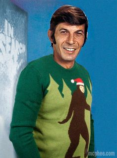 He went in search of Bigfoot and he found him on our Bigfoot Christmas Sweater. Looking good, Leonard!  Get your own here