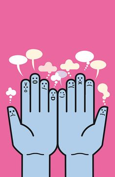 """Vector illustration at Istockphoto """"Hands and Emoticons"""" by Jesussanz  http://www.istockphoto.com/stock-illustration-21684077-hands-and-emoticons.php"""
