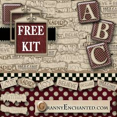 GRANNY ENCHANTED'S FREE DIGITAL SCRAPBOOK KITS: Free Positive2 Digi Scrapbook Kit with Papers, Alphabet, and Embellishments
