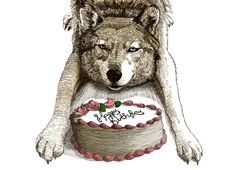 Wolf birthday greeting card woodland cute animal cake card, unique gift for him her folk size Birthday Greeting Cards, Birthday Greetings, Birthday Wishes, Happy Birthday Wolf, Wolf Meme, Library Memes, Unique Gifts For Him, Red Hood, Cute Cards