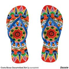 Shop Costa Rican Oxcartwheel Art Flip Flops created by Personalize it with photos & text or purchase as is! Crazy Man, Womens Flip Flops, Beach Sandals, Flipping, Book Design, Me Too Shoes, Slip On, Costa, Pattern