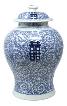 Large Blue and White Orchids and Double Happiness Temple Jar on Chairish.com