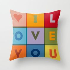 Colorful I LOVE YOU Typographic  Pillow Cover - Home Decor