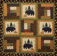 The Prairie Grove Peddler offers everyday pieced and applique quilt patterns Rustic Quilts, Log Cabin Quilts, Log Cabin Patchwork, Log Cabin Quilt Pattern, Log Cabins, Quilt Baby, Rag Quilt, Quilting Projects, Quilting Designs