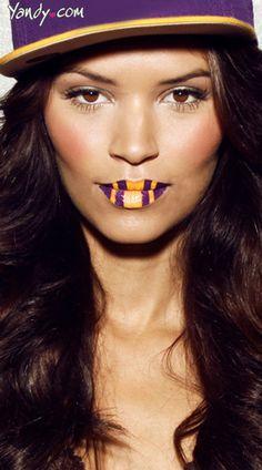 Purple and Yellow Lip Kit from Violent Lips, #LSU Temporary Lip Tattoo