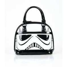 Black & White Patent Star Wars Stormtrooper Dome Bag ($68) ❤ liked on Polyvore featuring bags, handbags, black, patent handbags, black and white bag, black patent handbag, black white handbags and zipper purse