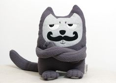 Soft Toy, Moustached Cat, Stuffed Toy, Christmas Cat Plush, Soft Toy, Eco Friendly Toy,