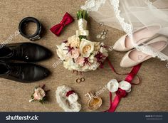 Wedding accessories. Bouquet and accessories of bride and groom. Wedding details