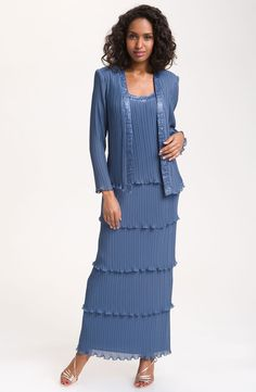 Patra dress long-sleeve pleated tiered lace
