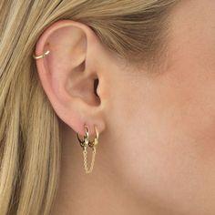 Sterling Silver Twisted Ear Cuff, No Piercing, Simple Earcuff - Double Ear Cuff Fake Cartilage Earring - Custom Jewelry Ideas Double Ear Piercings, Cute Ear Piercings, Ear Piercings Cartilage, Cartilage Earrings, Tongue Piercings, Rook Piercing, Cartilage Hoop, Bar Stud Earrings, Chain Earrings