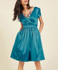 Another great find on #zulily! Teal Blue A Pleasing Evening A-Line Dress - Plus Too #zulilyfinds