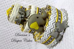 Baby Diaper Cake Gray Chevron Elephant with Yellow Shower Gift or Shower Centerpiece