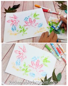 Magic Marker Leaf Prints & The Kitchen Table Classroom These leaf prints are super easy because they use just use washable markers to make super detailed prints! The post Magic Marker Leaf Prints & The Kitchen Table Classroom appeared first on Best Pins. Fall Crafts For Kids, Toddler Crafts, Art For Kids, Kids Diy, Autumn Art Ideas For Kids, Autumn Activities, Art Activities, Kindergarten Art Projects, Fall Art Projects
