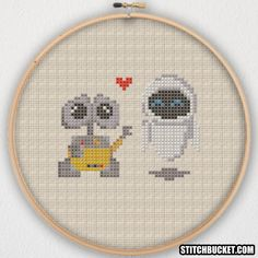 WALL-E and EVE Cross Stitch Pattern - Instant Download PDF by StitchBucket on Etsy https://www.etsy.com/uk/listing/495215010/wall-e-and-eve-cross-stitch-pattern