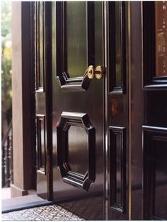 A Flair for Vintage Decor: Front Door Inspiration. Exterior Doors, Entry Doors, Front Doors, Black Exterior, Front Entry, Hygge Home Interiors, Door Molding, Moulding, Black Doors