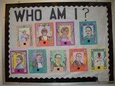 Biography - bulletin board/research project: Who Am I? Planning to have my kids look up facts and compile a one page report on an influential African American in history.