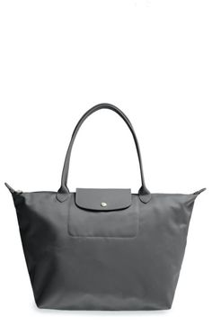 LONGCHAMP 'LARGE LE PLIAGE NEO' NYLON TOTE - GREY. #longchamp #bags #leather #hand bags #nylon #tote #