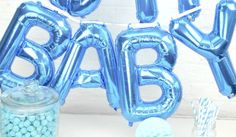BABY balloons -letter balloons - balloon banner letter Alphabet balloons baby shower baby boy blue banner