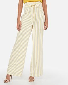 67096bb84f2 High Waisted Ticking Stripe Tie Waist Wide Leg Pant